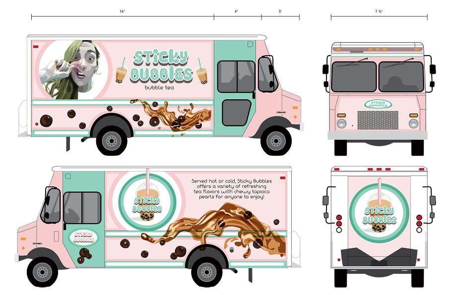 Sticky bubbles foodtruck design talia knowles for How to design a food truck